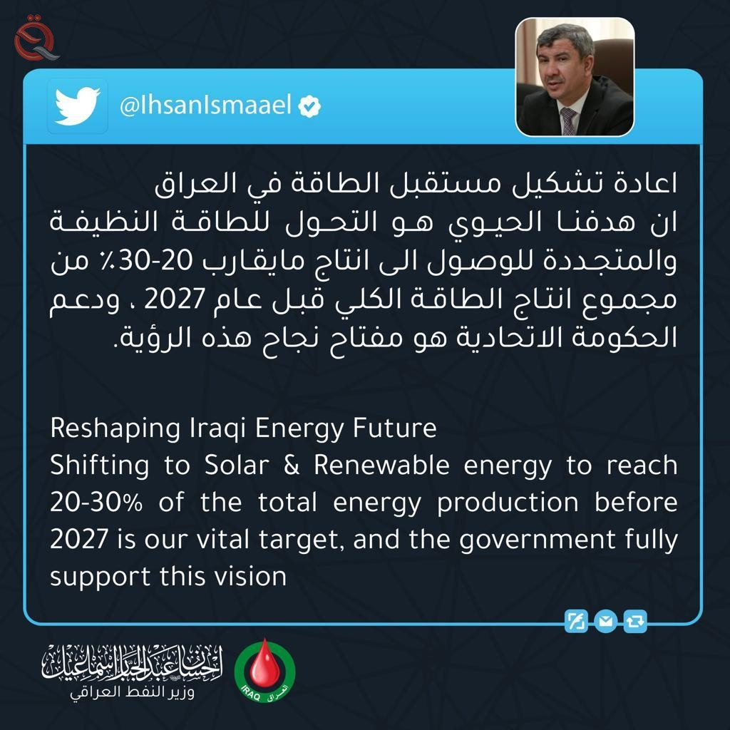 """Oil Minister: 30% of Iraq's energy capacity will be """"clean"""" by 2027 25751"""